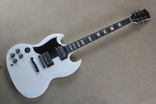 Left Handed Marca New Custom Shop Dupla Corte Away SG Mahogany Branco 2 Pickups Hardware Chrome Guitarra Elétrica 6 Cordas Barato Frete Grátis