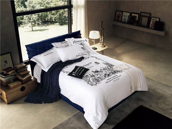Oriental Embroidered White Grey Luxury Egyptian Cotton Silk Feeling Bedding  Sets Queen King Size Duvet Cover