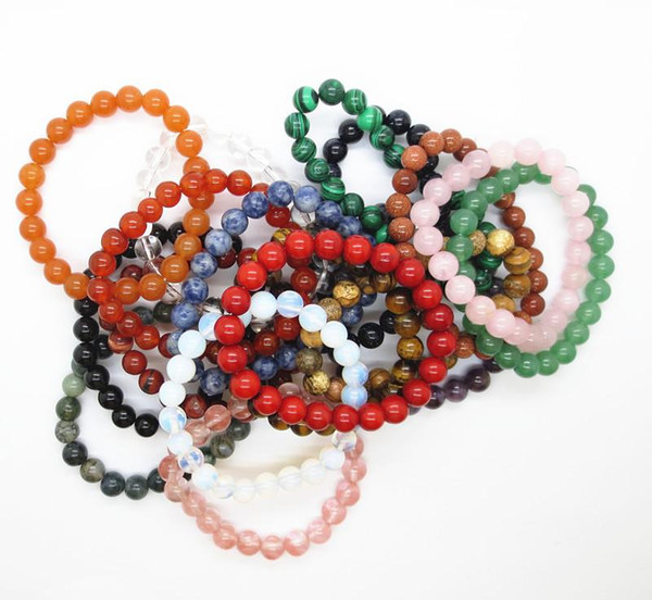Braccialetto di cristallo dell'agata del braccialetto di pietra naturale di vendita calda per gli uomini e le donne, 8MM intorno al commercio all'ingrosso 12PCS / lotto dei monili del braccialetto del braccialetto dei branelli