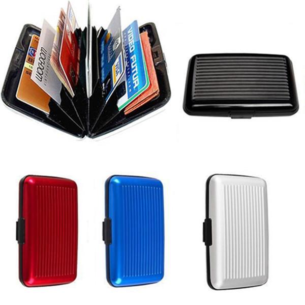 500 unids / lote cajas de tarjetas de crédito de aluminio titular de la tarjeta caso del banco cartera de aluminio mezcla de 9 colores