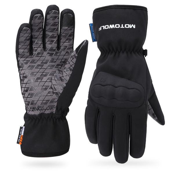 Gants d'hiver de moto ultra épais et moelleux, écran de téléphone portable du motocycliste imperméable rempli de gants de coton