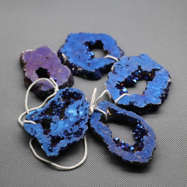 5pcs 1 Strand Titanium Crystal Quartz Rock Crystal, Raw Freeform Spikes Points Drilled Briolettes, 15.5 Inch Rainbow Blue Women Necklace
