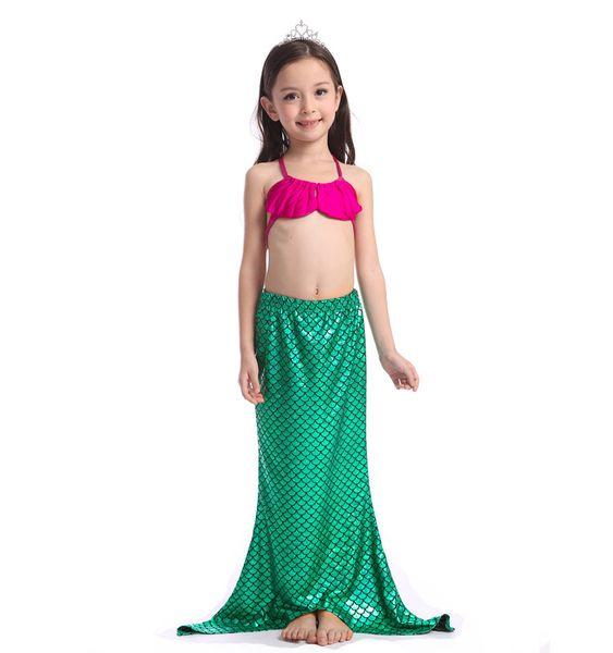 spiaggia 120pcs lotto ragazza smerlato lucido sirena a tre pezzi di costumi da bagno bikini