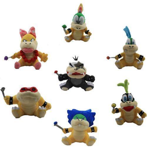 EMS 140PCS Super Mario Bros Koopa Plush Dolls Wendy / LARRY / IGGY /Ludwig /Roy / Morton /Lemmy O.Koopa 7pcs/set Free Shipping