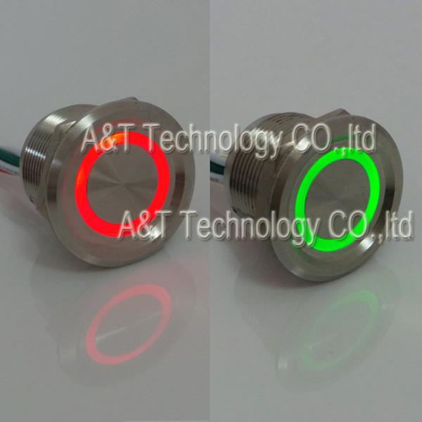 Dual Led Farbe 12v 24v Rot Grün Beleuchtet Metall Anti Vandal Rast Push Piezo Elektrische Senor Schalter Wasserdicht IP68