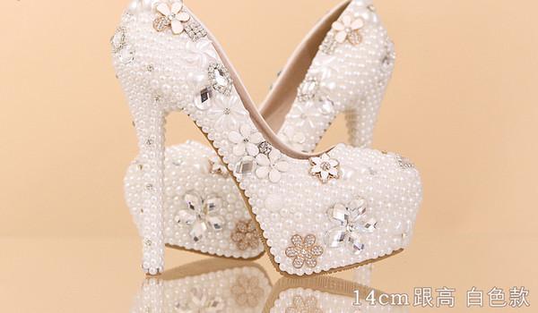 2016 Aesthetic Pearl Rhinestone Wedding Shoes Ultra High Heels Bridal Shoes  Wedding Shoes Platform Crystal Shoes