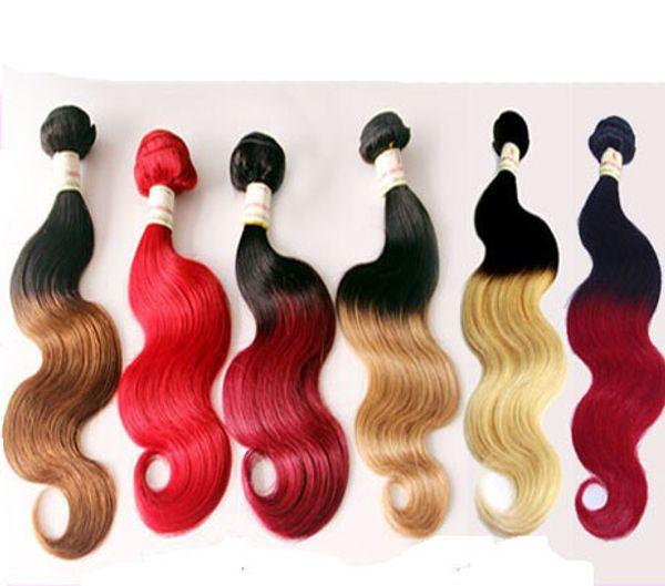 Brasiliana Body Wave Two Tone Color 100% capelli umani tesse Ombre T1B / 27 T1B / 30 marrone bordeaux capelli rossi estensioni 3 pz / lotto