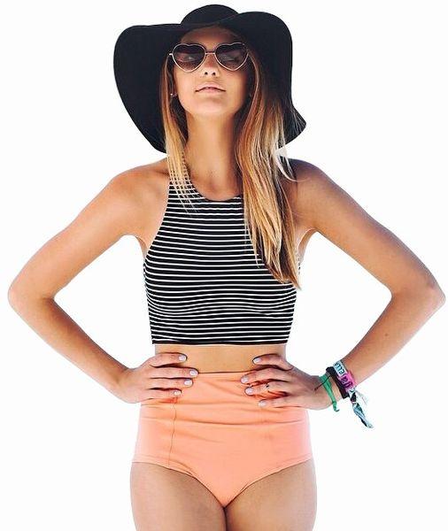 2016 new stripe Vest Tops high waisted bathing suits high neck bikini set women beach bikinis Swimwears Swimsuit bathing suit vintage