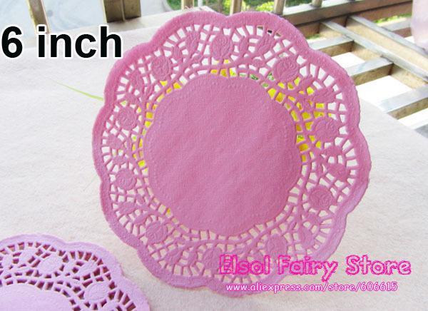 I centrini di torta del doily del merletto di carta rotondo impressi rosa romantico all'ingrosso all'ingrosso 6 pollici (300pcs) liberano il trasporto