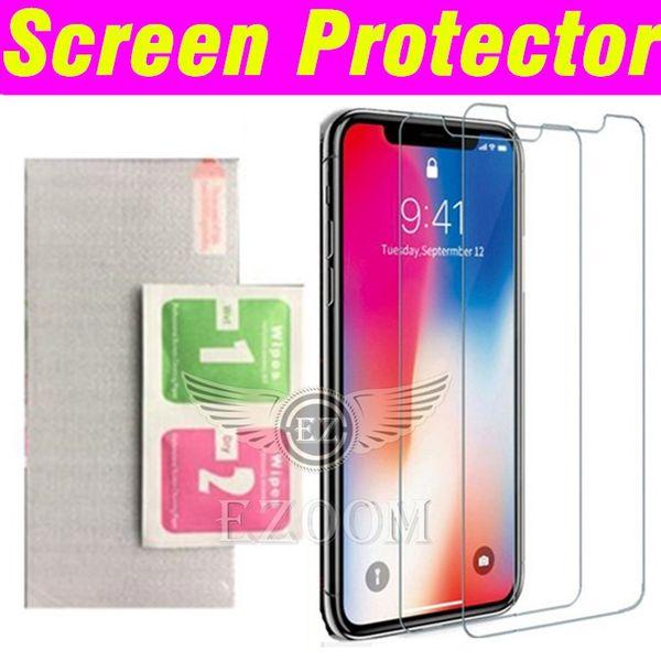 Ultra Thin 2.5D Premium vidrio templado Protector de pantalla Película de limpieza Kit para Iphone XR XS MAX X 8 7 6Plus Sansung s6 s7 s8 s9 A6 A7 A8 2018