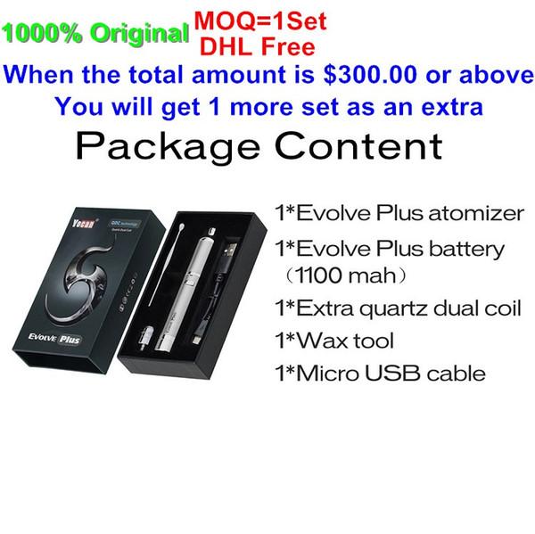 MOQ= 1 Set DHL Free Authentic Yocan Evolve Plus Kit 1100mAh Battery Quartz Dual Coil QDC E Cigarette Kits All 6 Colors In stock