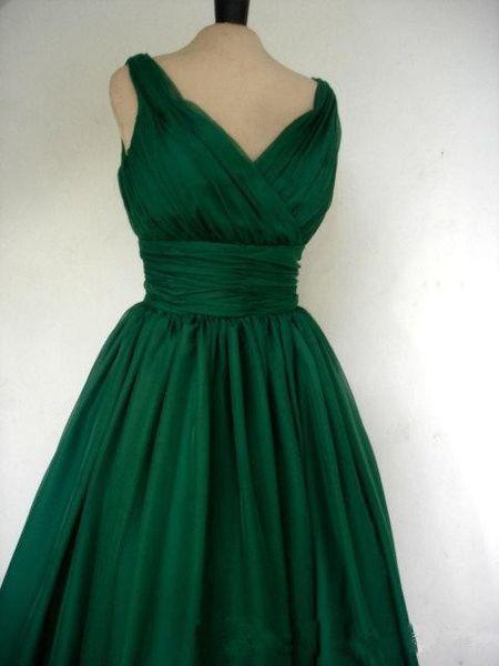Emerald Green 1950s Cocktail Dress Vintage Tea Length
