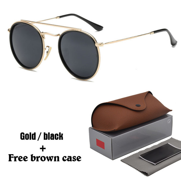 Hot Classic sunglasses for women metal frame double Bridge sun glasses Steampunk Goggle 11 Colors With free brown cases and box