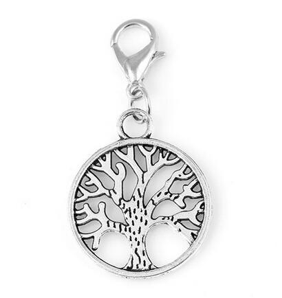 20pcs/lot Vintage Silver Tree Of Life Dangle Charms Family Tree Pendant With Lobster Clasp For Glass Floating Locket