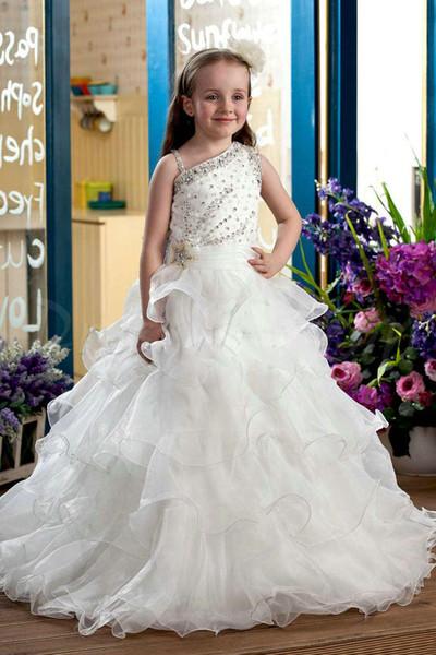 2016 Yeni Beyaz Çiçek Kız Elbise Düğün Için Bir Omuz Boncuklu Sequins A-Line Kız Parti Elbise Katmanlı Dantelli Kızlar Örgün Abiye giyim
