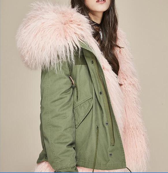 Großhandel Rosa Shoal Sheep Fur Liner Armee Grün Canvas Mini Jacken Jazzevar Marke Schnee Winter Kurzen Parka Mit Pelzbesatz Hoody Von Qltrade_13,