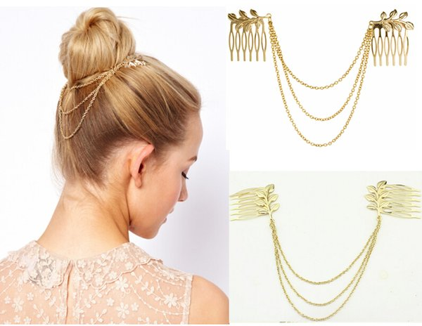 2015 Women Punk Chic Leaf Hair Comb Decoration Head Band Chains Clip Tassels Fringes 10Pcs/lot