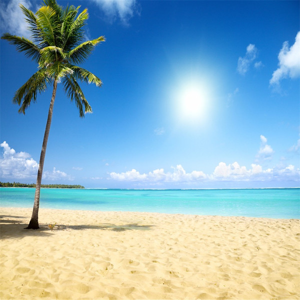 Tropical Beach Themed Photo Backdrop Palm Tree Sandy Seaside Scenery Summer Holiday Wedding Backgrounds Vinyl Backdrops for Photography