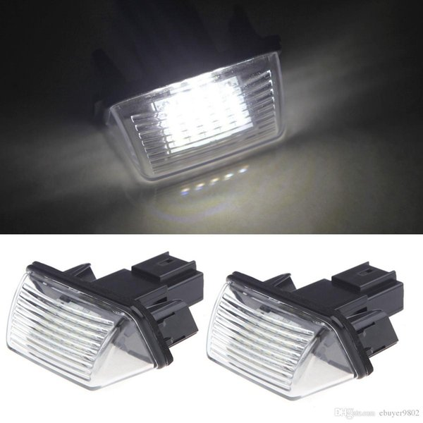 2pcs Bright Led License Number Plate Light for Peugeot 206 207 306 307 406 407 Citroen C3 C3 Ii C3