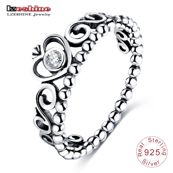 Großhandels- LZESHINE fabelhafter Charme 925 Sterlingsilber-Frauen-Prinzessin Queen Crown Ring mit klarem CZ Authentic Jewelry Bague Femme PSRI0002