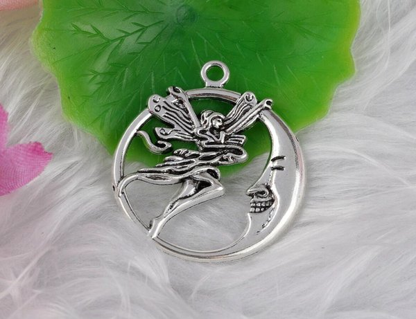 100pcs Antique Silver Carved Moon On Angel Charms Pendants Alloy For Bracelet Necklace Fashion Jewelry Making Beads Accessories Bijoux N809