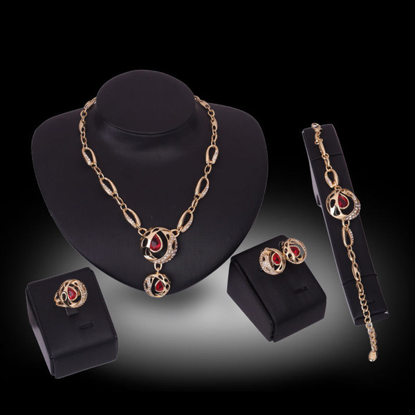 Fashion Women 18K Gold Plated Rhinestone Ruby Necklace Earrings Bracelet Ring Bridal Costume Party Jewelry Set