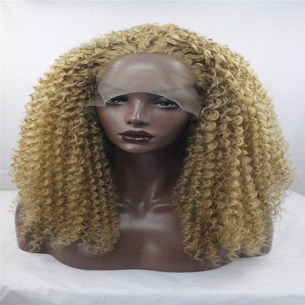 kabell Fashion lave front wig Bouncy Curly Synthetic Lace Front Wigs Brown Highlight Blonde Color Mixed Layered Heat Resistant Afro Women