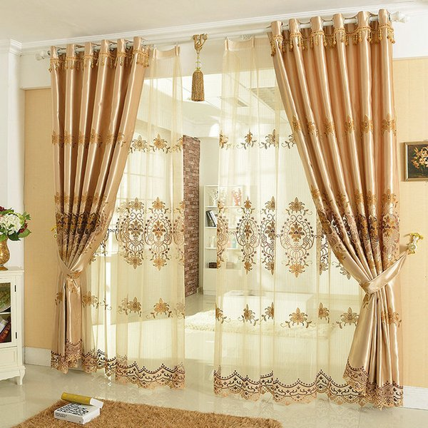 best selling New Arrival Luxury Window Curtain For Living Room Bedrooms  Hotel Finished Curtains+Tulle Home Furnishing Treatment FreeShipping