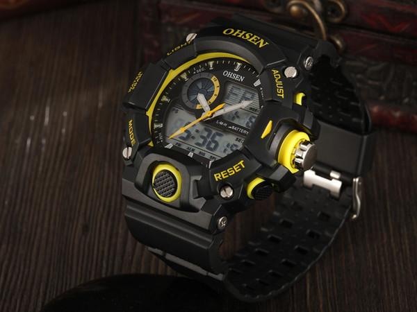 Лучший бренд OHSEN цифровые спортивные часы для дайвинга наручные часы с желтым циферблатом классический модный дизайн 50M водонепроницаемые ручные часы Hombre Horloge для подарка