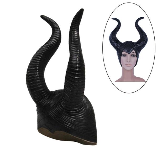 Venta al por mayor-2015 de moda genuino látex cuernos maléficos mujeres adultas traje de fiesta de halloween jolie cosplay tocado sombrero 1 UNIDS