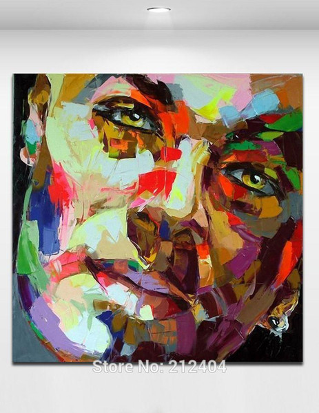 100% Hand Painted Palette Knife Canvas Oil Painting Smiling Man Modern Figure Wall Picture for Bar Cafe Home Wall Decor
