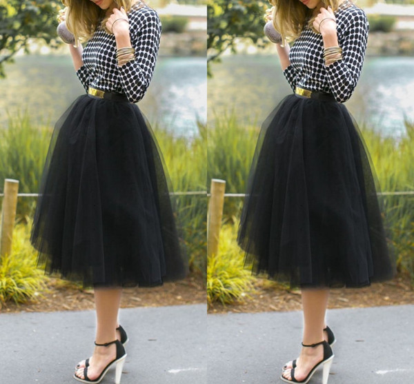 2015 New Arrival Tea-Length Cheap Black Tulle Skirts Princess Layered Voile Tulle Skirt Bouffant Puffy Skirt Ruched Long Skirts