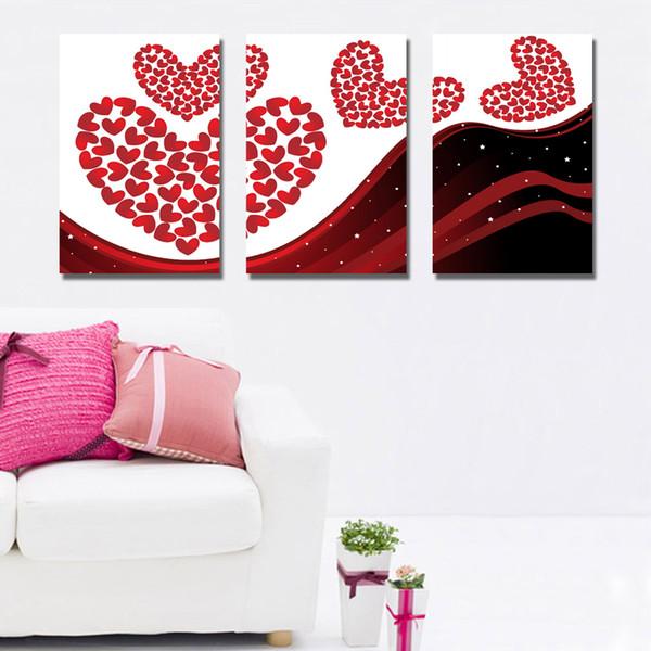 Acheter Livraison Gratuite 3 Pièces Sans Cadre Sur Toile Impression Amour Noir Et Blanc Dessin Animé Abstrait Peinture à Lhuile En Pot Fleur Bourgeon