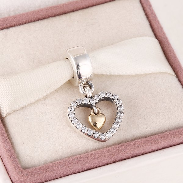Fits Pandora diy Charms bracelet 2015 New 925 sterling silver pave heart dangle charms with 14k real solid gold heart jewelry