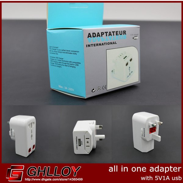 best selling Universal All-in-One World Travel Adapter with 5V1A USB Power For EU,UK,US 100pcs up