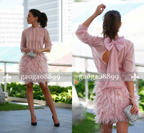 2019 Gorgeous Feather Short Prom Dresses Pink Long Sleeves Open Back With Bow Dresses Party Evening Cocktail Party Dresses Special Occasion