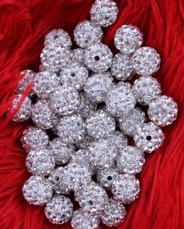 MIC Free Ship 8mm 100pcs/lot White Clear Crystal Rhinestones Pave Round Disco Ball Spacer Beads Jewelry DIY