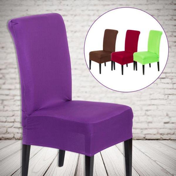 20 Cores Sólidas Poliéster Spandex Cadeira De Jantar Cobre Para Tampa Da Cadeira Do Partido Do Casamento Marrom Cadeiras De Assento Da Cadeira De Jantar