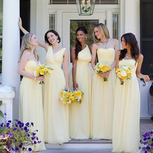Multi Style Light Yellow Bridesmaid Dresses Long Chiffon Floor Length Cheap  High Quality Sweetheart V Neck One Shoulder Wedding Party Gowns b80168c203d6