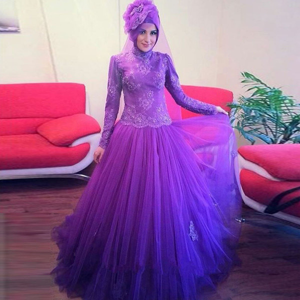 Elegant Regency Muslim Prom Dresses Hijab Top Lace Floral Long Sleeve Evening Dresses Putty Tulle Saudi Arabia Garden Formal Dresses Long