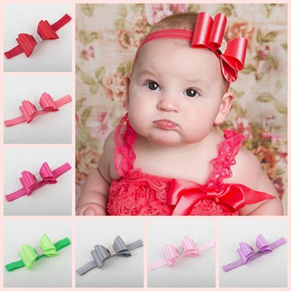2016 Infant Flower Strass Fasce Baby Girls Bambini Archi di raso Fasce per capelli Accessori per capelli Moda Principessa Elastico Copricapo 15 colori