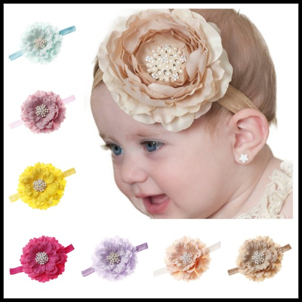 Cute Rhinestone Floral 18 Colors Headbands Girls Baby Boutique Hair Accessories Newborn Birthday Party Gifts Photography Props