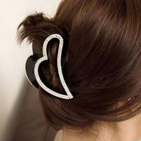 Moda mujer en forma de corazón cristalino negro Rhinestone garra pinza de pelo Barrettes horquillas Hairwear abrazadera accesorios para el cabello