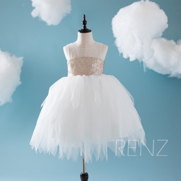 Peach Sequins Flower Girl Dresses White Soft Tulle Ball Gown Kids ...
