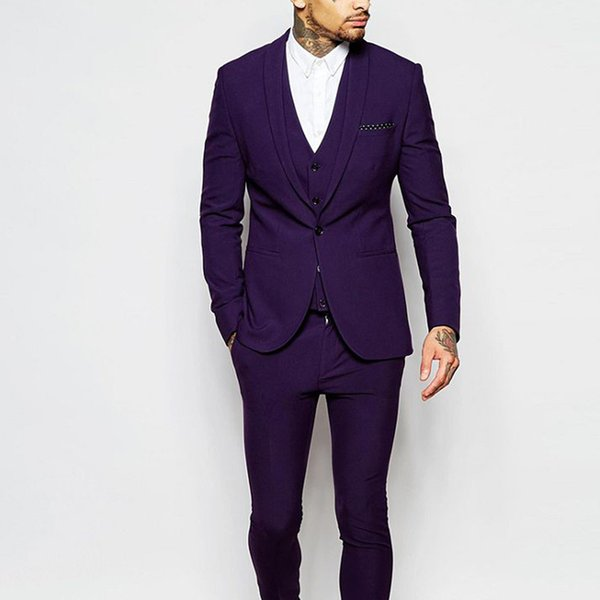 Purple Wedding Groom Tuxedos 2018 Slim Fit Custom Made Men Suits Three Piece One Button Groomsmen Suit (Jacket + Pants +Vest)