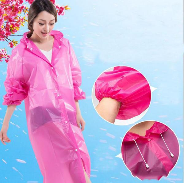 Capa de lluvia de uso largo EVA Impermeable Transparente Poncho Impermeable Portátil Luz Ambiental Impermeable Venta Caliente c217