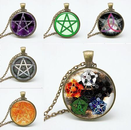 New styles Fashion personality Pentagram Wicca glass Pendant Necklace Occult charm necklaces pendants N150-155 gift wholesale