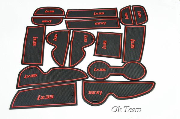 High quality 2013 2014 2015 Hyundai ix35 13-15 15pcs/lot Gate slot pad rubber cup mat/pad car Interior accessories Stickers