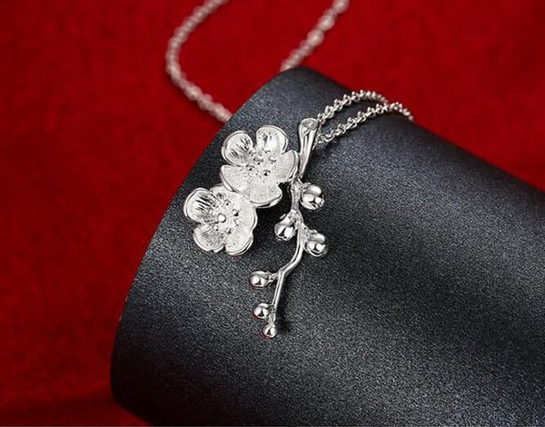 10%off Fashion jewelry 925 silver plum blossom pendant necklace Top quality 10pcs/lot