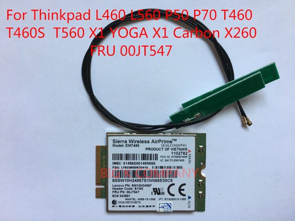 top popular Freeshipping EM7455+2PCS antenna FRU 00JT547 4G for T470P T570 L460 L560 P50 P70 T460 T460S T560 X1 YOGA X1 Carbon 5th gen X260 in STOCK 2021